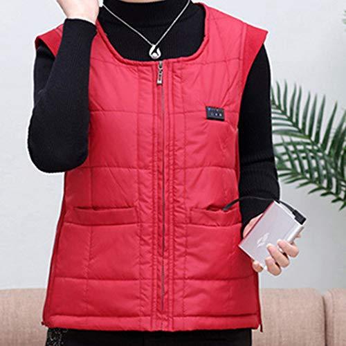 Roboraty Verwarmd vest, oplaadbare USB-warmte-jas voor dames en heren, wasbare elektrische warme kleding voor skiën, jagen, kamperen en wandelen Large rood