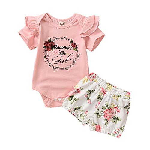 Eghunooze Baby Mädchen Sommer 2 Stücke Kleidung Set Kurzarm Rüsche Strampler Top + Blumenmuster Tie Shorts + Stirnband Neugeborenen Prinzessin Bekleidung Outfits (Rosa 03, 0-3Monate)