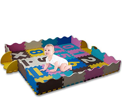 KAYBABY Baby Play Mat with Safe Fence Extra Large Foam Tiles...