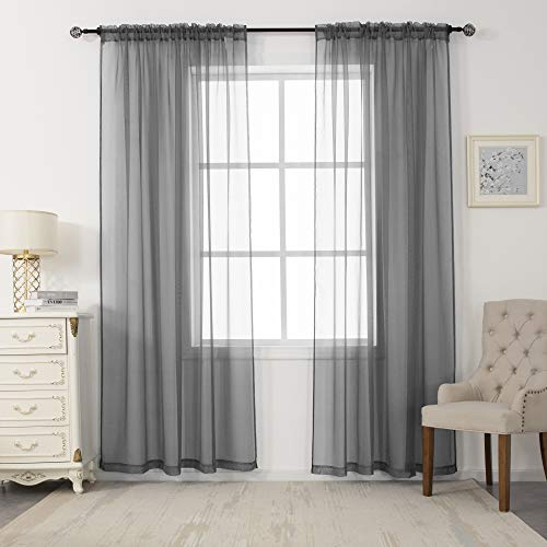 N&F 2 Panels Sheer Voile Curtains Draperies - Window Treatment Rod Pocket Light Filtering Curtains Drapes Panels for Bedroom Living Room Party Backdrop, Grey, 52 Inch by 84 Inch