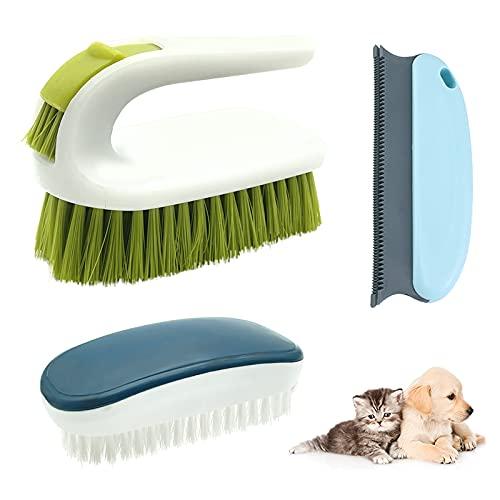Cepillo Alfombras Pelo, Cepillo de fregado rígido, Resistente, Cepillo para Quitar el Pelo de Mascotas, Cepillo de Limpieza Duro para Ropa, Zapatos, alfombras, sofá Cama, 3 Piezas