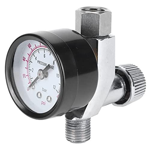 Regulador de presión de aire, medidor de presión del separador de aceite y agua 6,5x7,5 cm Perilla de ajuste de presión de aire Modelo de interfaz de 1/4 pulg.