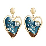 3Colors Resin Acrylic Heart Pendant Dangle Earrings for Women Fashion Jewelry Collection Earrings Accessories-A