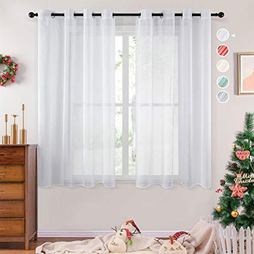 Topfinel 2 Piezas Modernas Visillos para Ventanas Cortinas Dormitorio con Ojales,140x160cm,Blancas