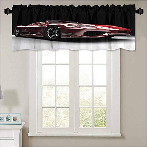 YUAZHOQI ventana Rod bolsillo cenefa coches industria automotriz tema potente motor rápido Tec 1 panel 132 cm x 45 cm cortinas cenefa para dormitorio sala de estar cocina