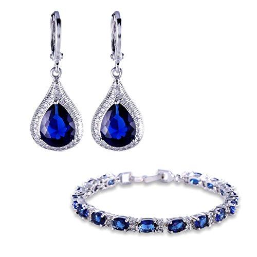Gulicx, set di gioielli comprensivi di orecchini pendenti e bracciale argentato con zaffiri blu e zirconi
