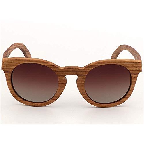WOXING Polarizadas Madera Gafas,Vintage Retro Gafas,Unisex Clásico Protección UV Moda Deportivas Ciclismo Correr Pesca Mujer Hombre-D 14.4x4.3cm(6x2inch)