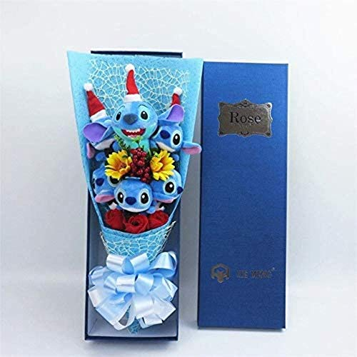 Kawaii Stitch Knuffels met kunstbloemen Cartoon Bouquet Gift Box Kerst Knuffelbeesten Valentijnsdag gif