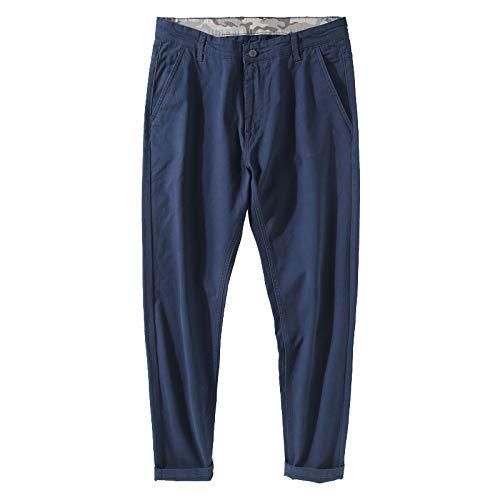 Pantalones Chinos para Hombre Pantalones Casuales básicos clásicos Sueltos de Color sólido Pantalones cómodos y Transpirables con Botones y Cremallera 44