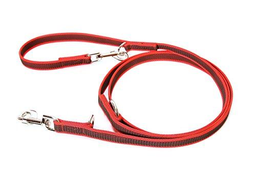 Julius-K9, 216GM-R-DP Color & Gray Gumierte Leine Rot-Grau doppelt verstellbar 20mm*2,2 m, max. für 50 kg Hunde