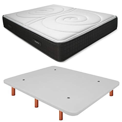 Duérmete Online Base Tapizada 3D Reforzada Anti Ruido + Colchón Viscoelástico Duo Reversible | Patas de Madera Color Cerezo, Blanco, 135x190