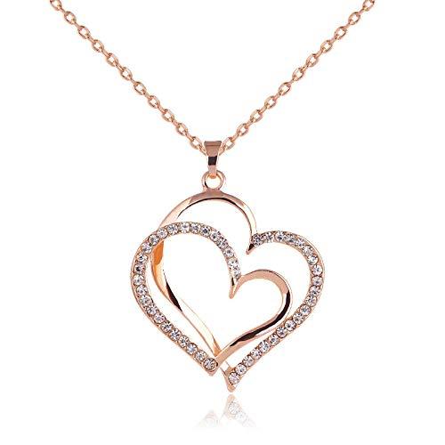 ZYLL Estilo de Verano Color Oro Rosa Cristal Colgante de Doble corazón Joyas de Lujo Amor corazón Collares Día de San Valentín Joyería de Boda