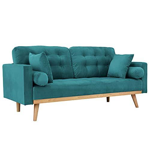 Casa Andrea Milano llc Mid Century Modern Tufted Upholstered Fabric Sofa Couch, Teal Velvet