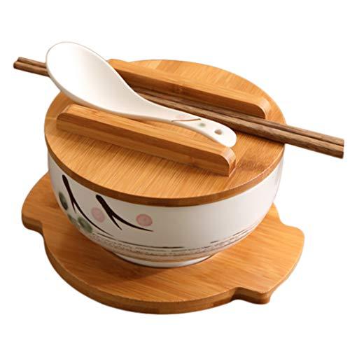 Japanische Küche Geschirr koreanische Vintage Schüssel Nudeln Reis Schüssel japanischen Stil Keramik Instant Nudel Schüssel Stäbchen mit Deckel und Löffel Küche liefert(D-16CM(6.25INCHES))