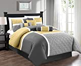 Chezmoi Collection 7-Piece Quilted Patchwork Comforter Set, Yellow/Gray, Queen