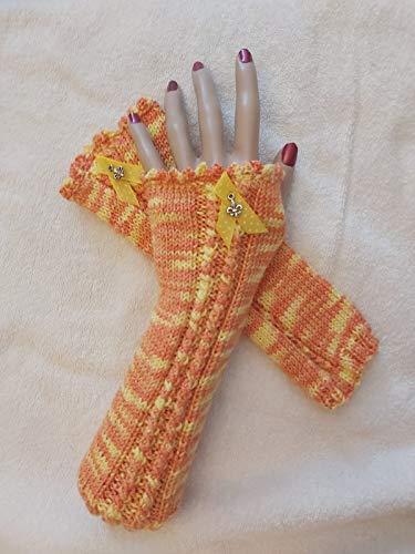 Stulpen Trachtenstulpen Dirndl Damen Winter Halb Handschuhe Winter Wärmer Strick Handschuhe Gestrickte Fingerlose Armstulpen Fäustlinge