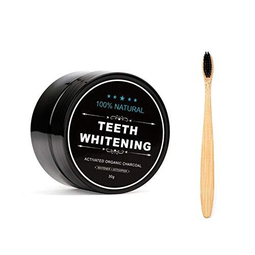 Teeth Whitening Powder, FOXTSPORT Natürliches Aktivkohle Zahnaufhellung Pulver mit Bambus Zahnbürste, 1.05 oz