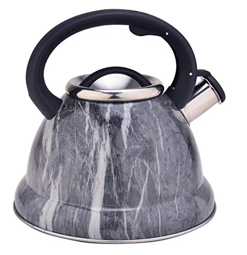 ARC Tea Kettle Grey pattern Stove Top Tea kettle, Food Grade Stove Tea Pot with Heat Resistance Handle, Anti-Rust and Loud Whistling, Stainless Steel Tea kettle for Stovetop, (3.2 Quart / 3L)