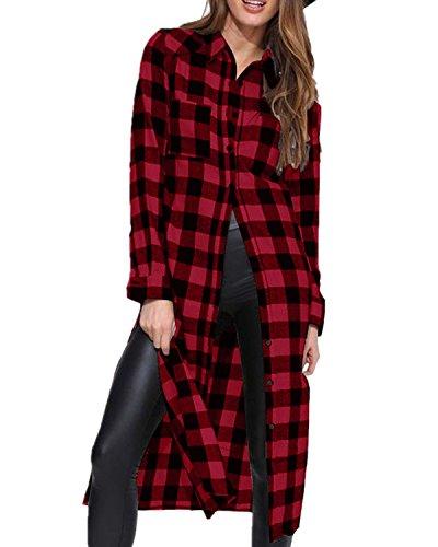 Style Dome Camisa Cuadros Blusa Casual Elegante Oficina Algodón Botones Manga Larga para Mujer Rojo XL