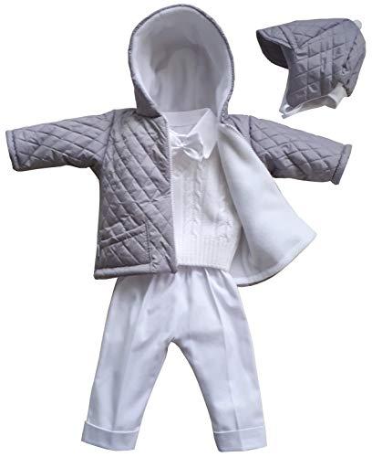 deine-bruidsmode dooppak feestpak jas gewatteerde jas muts broek overhemd vest vlinderdas doop baby pak lichtgrijs