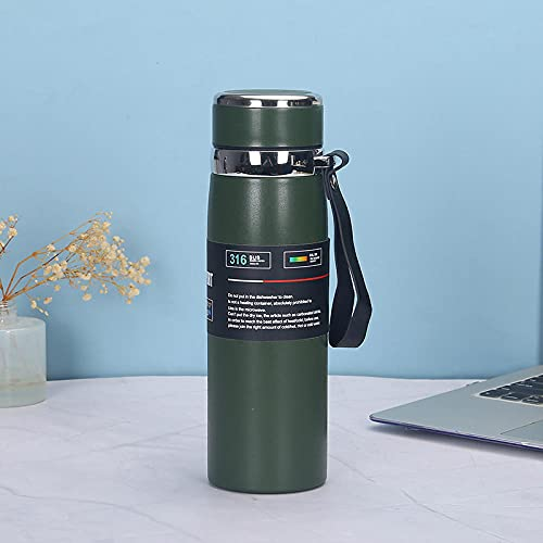 Botella Agua Deporte,Para Cantimploras para Gimnasio, Bicicleta, Colegio, Oficina, Viajes -verde_600ml