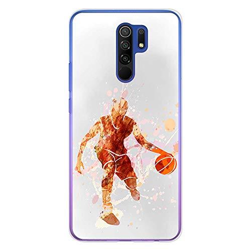 BJJ SHOP Funda Transparente para [ Xiaomi Redmi 9 ], Carcasa de Silicona Flexible TPU, diseño : Jugador de Baloncesto Watercolor Naranja