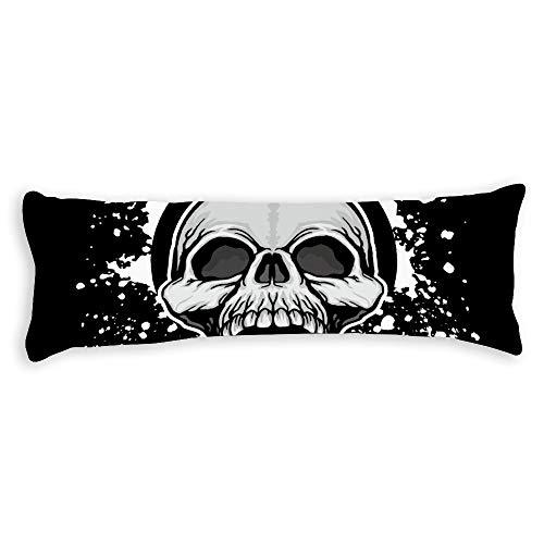 Fhdang Decor Grunge Skull Body Pillow Case Soft Cotton Lavable en Machine avec Fermeture éclair Maternité Grossesse, Coton, Single 3ft (36'')