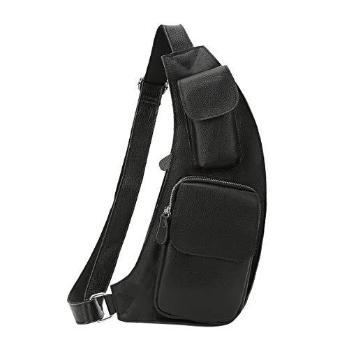 Leathario Herren Echtleder Brusttasche Brustbeutel Rucksack Schultertasche Umhängetasche Reisetasche Freizeittasche Crossbody Bag (Schwarz)