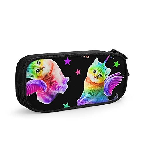 Colorido divertido diseño de alas de esquina gato psicodélico bolsa de bolígrafo durable bolsa de papelería portátil para la escuela, oficina, bolígrafo de gran capacidad