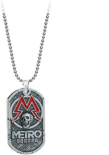 NC110 PC-Spiel Metro Exodus 2033 Halskette Hundemarke Anhänger Leder Metallkette Männer Halsketten Charme Geschenke für Kinder Spiele Schmuck