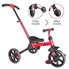 🏆 FOUR WAYS TO RIDE: 1) Push trike mode with handle for easy steering 2) Tricycle for kids 3) Push bike with parent steering 4) Balance bike. 🏆 'TWIST AND FLIP': Parents can easily press a button, flip the two rear wheels inward and convert to Balanc...