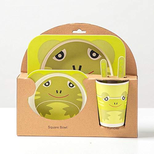 Plato de Cena Juegos De Cubiertos De Fibra De Bambú De Dibujos Animados para Niños Suplemento para Alimentos para Bebés Plato De Cena Reglado Tenedor