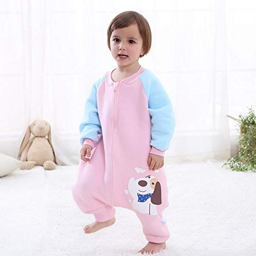 Unisex baby-inbakerdekens, kinderslaapzak met gespleten pijpen, dunne katoenen anti-kick-quilt-puppy roze luchtlaag houdt warm_90cm, pasgeboren baby dikke warme slaapzak