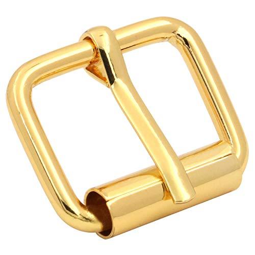 Fenggtonqii Hebillas de rodillo de 0,8 x 1,5 cm, hechas a mano, para bolsos, correas de cuero, dorado, paquete de 20