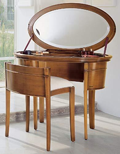Casa Padrino Luxus Biedermeier Schminkkonsole mit Stuhl Braun/Weiß - Schlafzimmer Möbel - Hotel Möbel - Luxus Qualität - Made in Italy