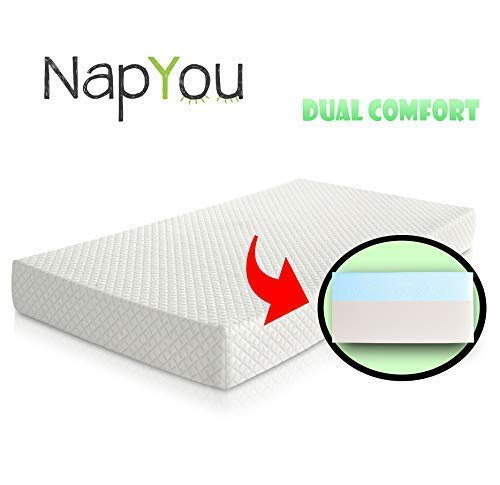 Best Review Of Official Amazon Exclusive NapYou Dual Comfort Crib Mattress, Firm Side for Infant & Soft Side for Toddler with 100% Waterproof Cover Made with Organic Cotton – Reversible Baby Mattress