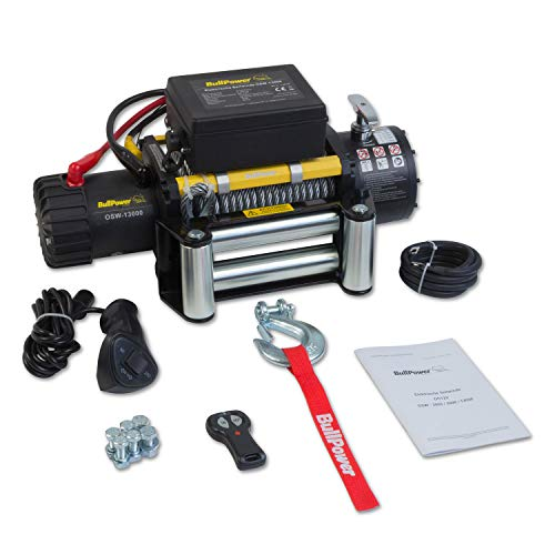 BullPower Elektrische Seilwinde Offroad 4x4 Motorwinde Seilzug 12V 13000lbs - 5900kg OSW-13000 Mattes Design, integrierter Motorkühlung und verstärktem Rahmen
