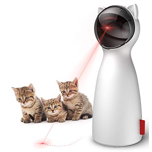 Goopow Cat Toy Automatic, Interactive Laser Toy for Kitten Dogs-USB Charging / Battery Powered , Placing High,5 Random Pattern,Automatic On/Off and Silent, Fast/ Slow Light Flashing Mode