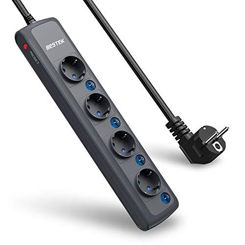 BESTEK - Regleta de 4 enchufes con Interruptor Individual con protección contra sobrecarga,...