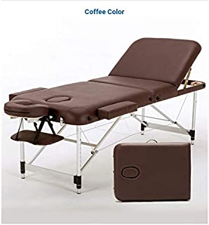 4Beauty Massage Table Portable Massage Bed 3 Folding 84 Inch Aluminium Frame Lightweight Height Adjustable Salon Spa Table with Carry Case - Coffee