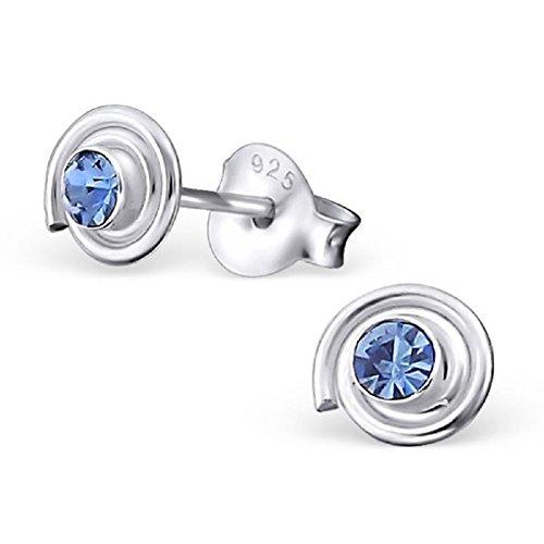 Laimons Pendientes para mujer Espiral Azul Claro Brillante Plata de ley 925