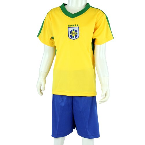 BRASILIEN WM 2014, Fußball Kinder Trikot-Set mit Hose und Mesh-Einsätzen, gelb/blau, Gr. 96-104