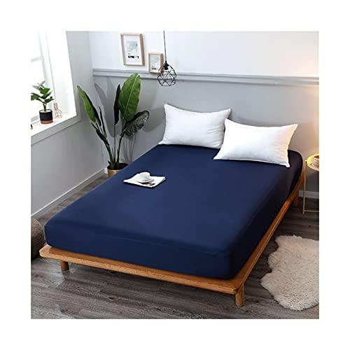 MZP Funda Colchón Impermeable Protector de colchón 100% Impermeable Poliéster Jersey Tela Tejida Una Pieza Sabanas Bajeras Ajustable (Color : Blue B, Size : 150x190+45cm)