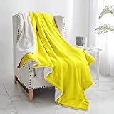 """Walensee Sherpa Fleece Blanket (Throw Size 50""""x60"""" Yellow) Plush Throw Fuzzy Super Soft Reversible Microfiber Flannel Blankets for Couch, Bed, Sofa Ultra Luxurious Warm and Cozy for All Seasons"""