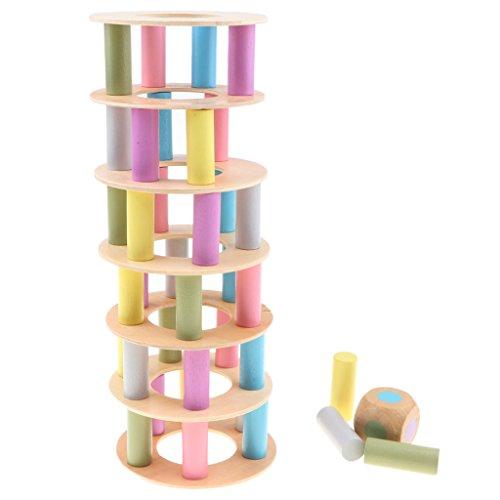 D DOLITY Holz Turm Stapelspiel Stapel Bausteine Holzblöcke mit Würfel Montessori Holzspielzeug für Kinder ab 3 Jahren