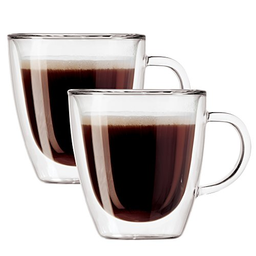 Oggi 6584 Double Walled Insulated 3 oz Borosilicate Glass Espresso Mugs (Set of 2), Clear.