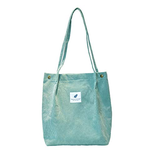 Corduroy Fabrics Tote Bag with Interior Pocket, Reusable Washable and Ecofriendly, Perfect for Shopping Travelling School and So on. (Green)…