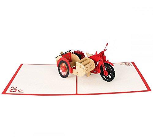Motorrad mit Beiwagen als 3D Pop-Up Karte - Grußkarte für Biker