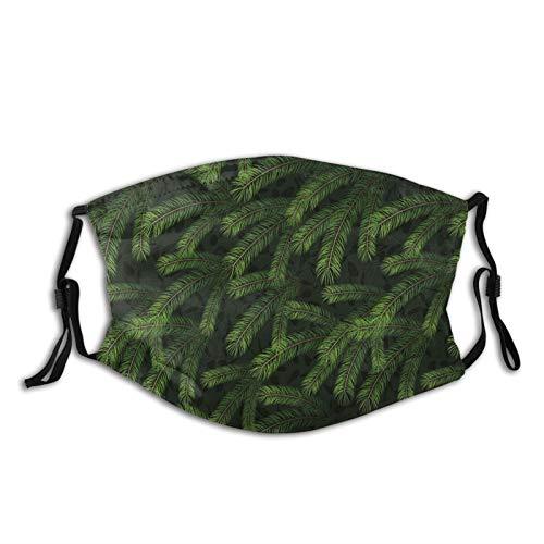 FULIYA Maschera protettiva lavabile, riutilizzabile e regolabile, con rami di pino vivido, alberi di conifere, foresta di natura sempreverde, decorazione facciale stampata per adulti