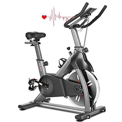 HEKA Cyclette Casa con Volano 20kg, Spin Bike Cyclette, Bicicletta per Allenamento, Spinning Bike Indoor, Bici da Spinning Cyclette con Manubrio e Sella Regolabili, Schermo LCD, Portata Massima 200kg